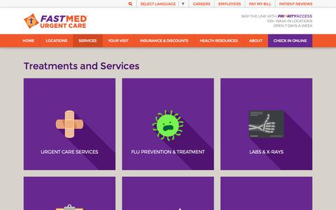 Screenshot of Services Page fastmed.com - Treatments & Services | FastMed Urgent Care Centers - captured Oct. 27, 2019