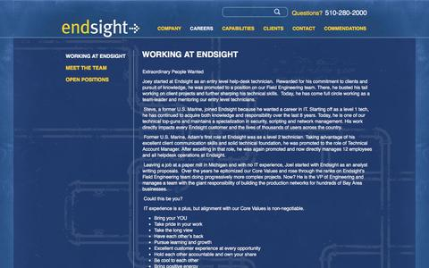 Screenshot of Jobs Page endsight.net - Working at Endsight | Endsight - captured May 12, 2017