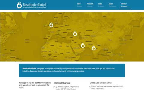 Screenshot of Contact Page basetradeglobal.com - Contact - UK Head Quarter And Its International Locations - captured Sept. 30, 2014