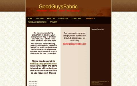 Screenshot of Services Page goodguysfabric.com - Good Guys Fabric - Manufacturer - captured Sept. 30, 2014