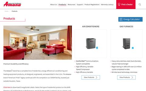Screenshot of Products Page amana-hac.com - Amana Range Of Residential And Commercial Products - captured Sept. 23, 2018