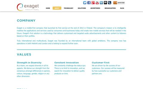 Screenshot of About Page exaget.com - About - Exaget - captured Oct. 3, 2014