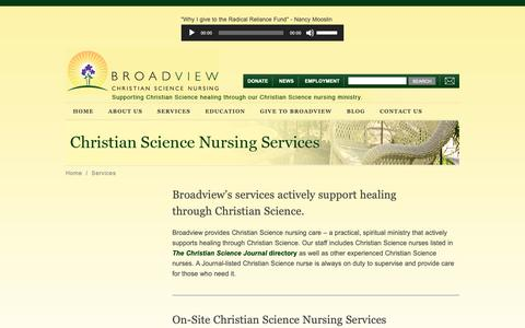 Screenshot of Services Page csbroadview.org - Services - captured Oct. 6, 2018