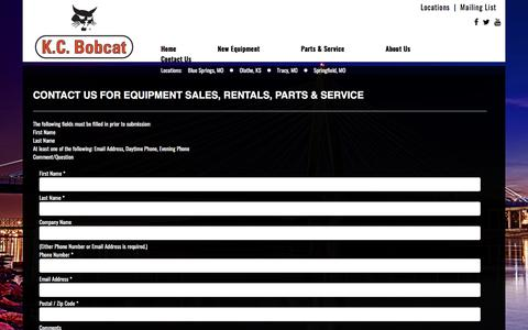 Screenshot of Contact Page kcbobcat.com - Contact a MO & KS Bobcat Dealer | Skid-Steer & Track Loaders, Excavators, Bandit Chippers Grinders - captured Sept. 20, 2018