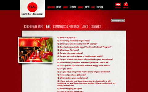 Screenshot of FAQ Page rasushi.com - RA Sushi Bar Restaurant, FAQ, Frequently Asked Questions - captured Nov. 2, 2014