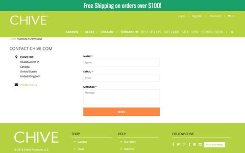 Screenshot of Contact Page chive.com - Contact Chive.com - Chive Products, LLC - captured Sept. 22, 2018
