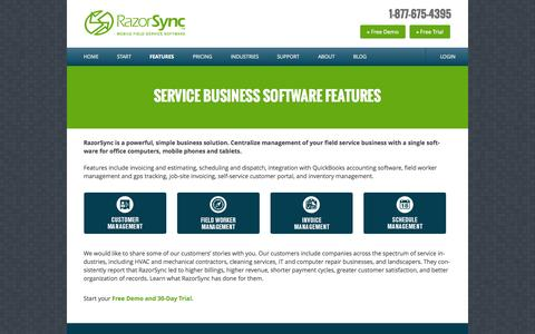 Screenshot of Products Page razorsync.com - Scheduling & Dispatching Software for Field Service Businesses | RazorSync - captured Oct. 29, 2014