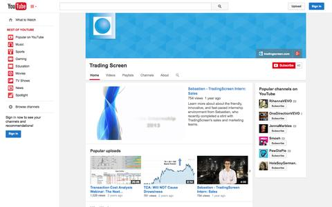 Screenshot of YouTube Page youtube.com - Trading Screen  - YouTube - captured Oct. 29, 2014