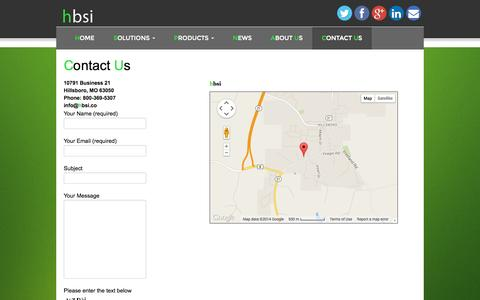 Screenshot of Contact Page hbsi.co - Contact Us - hbsi - captured Oct. 2, 2014
