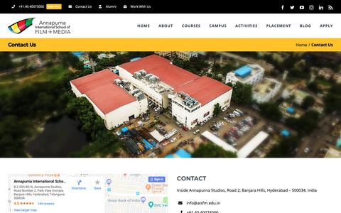 Screenshot of Contact Page aisfm.edu.in - Contact Us - Annapurna International School of Film + Media - captured Jan. 31, 2019