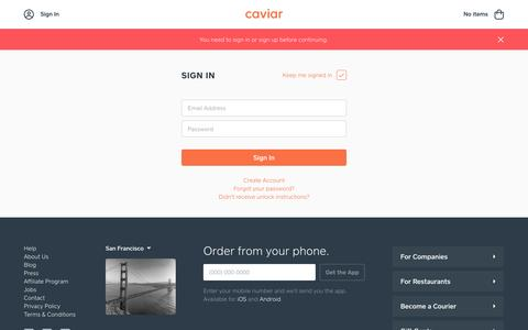 Screenshot of Contact Page Login Page trycaviar.com - Caviar | Sign In - captured Feb. 3, 2017