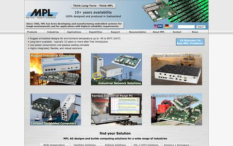 Screenshot of Home Page mpl.ch - Embedded Industrial Computers PCs for rugged environment and extended temperature range - MPL AG Switzerland - captured Oct. 21, 2017