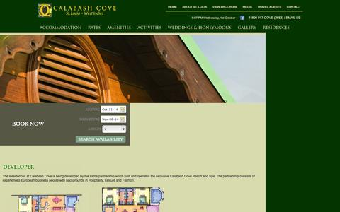 Screenshot of Developers Page calabashcove.com - Calabash Cove Residences - Invest in and live at St. Lucia's newest luxury hotel - captured Oct. 1, 2014