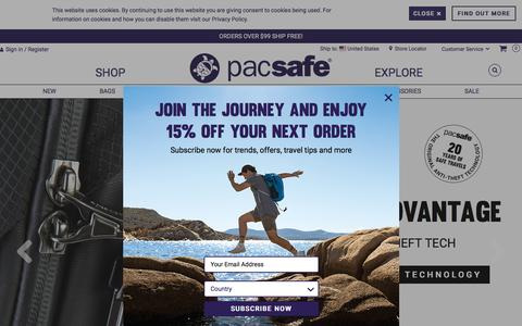 Screenshot of Home Page pacsafe.com - Anti-Theft Travel Bags, Backpacks and More by Pacsafe - captured July 15, 2018