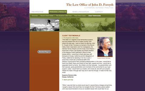 Screenshot of Testimonials Page forsyth4defense.com - The Law Office of John D. Forsyth - captured Jan. 26, 2016
