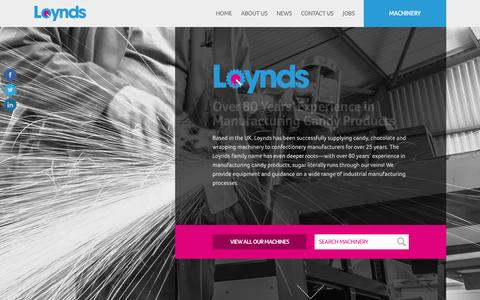 Screenshot of Home Page loynds.com - Loynds • Worldwide Suppliers of Candy & Chocolate Machinery - captured Feb. 1, 2016