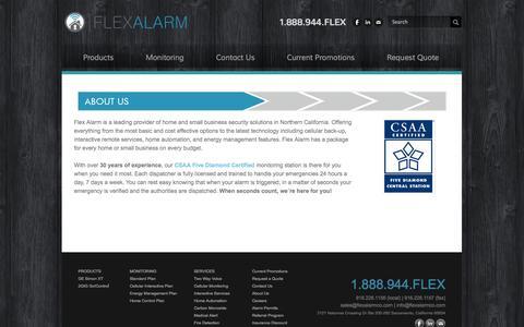 Screenshot of About Page getflexalarm.com - About Us - Flex Alarm of Sacramento, California - captured Oct. 6, 2014