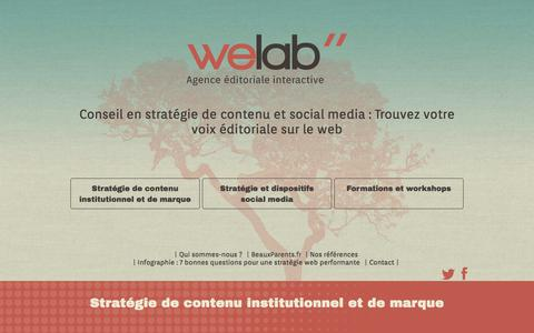 Screenshot of Home Page welab.fr - - Welab, Agence Éditoriale Interactive - captured Oct. 9, 2014