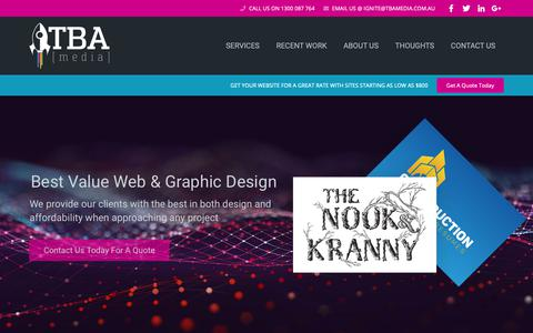 Screenshot of Home Page tbamedia.com.au - Welome To TBA:Media - Gold Coast Based Website & Graphic Design - captured Nov. 7, 2018
