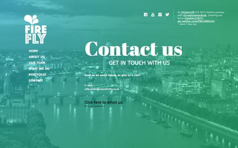 Screenshot of Contact Page wearefirefly.co.uk - Contact us - We Are FIREFLY Media - captured Oct. 29, 2014