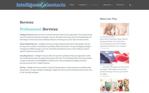 Screenshot of Services Page intelligentcontacts.com - Services - Intelligent Contacts - captured Aug. 6, 2016