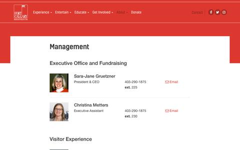 Screenshot of Team Page fortcalgary.com - Management | Fort Calgary - captured June 6, 2017