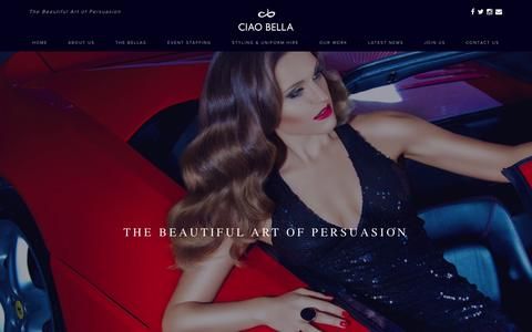 Screenshot of Home Page ciaobella-events.com - A Premium and Multilingual Model and Events Staffing Agency - captured July 3, 2015