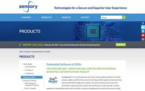 Screenshot of sensory.com - Embedded Software & SDKs | Sensory - captured March 19, 2016