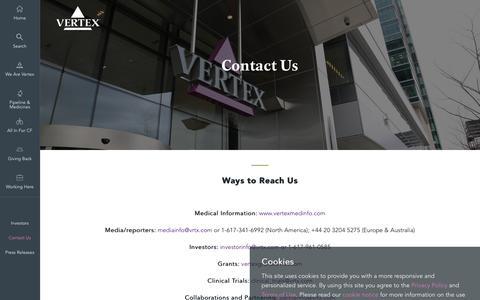 Screenshot of Contact Page vrtx.com - Contact Us | Vertex Pharmaceuticals - captured April 11, 2017