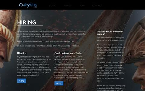 Screenshot of Jobs Page skyboxlabs.com - Video Game Development Jobs at SkyBox Labs - captured Sept. 30, 2014