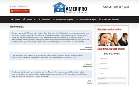 Screenshot of Testimonials Page ameriproappliancerepair.com - TestimonialsAmeriPro Appliance Repair - captured Nov. 20, 2016