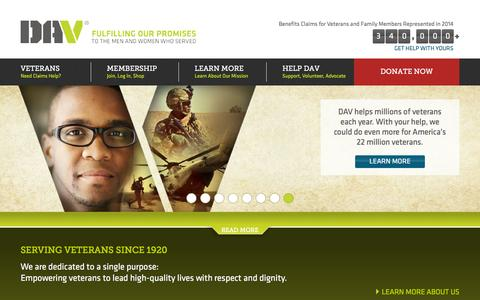 Screenshot of Home Page dav.org - DAV : Disabled American Veterans Charity - FIND, DONATE, JOIN & VOLUNTEER to HELP Disabled American Veterans - captured Jan. 2, 2016