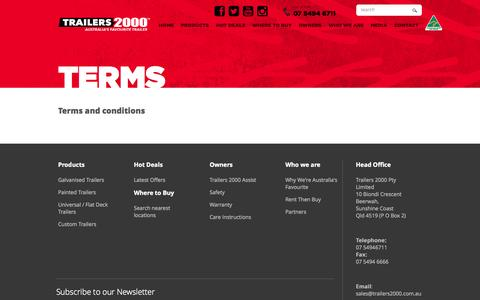 Screenshot of Terms Page trailers2000.com.au - Terms and conditions - captured Oct. 7, 2014