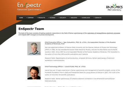 Screenshot of Team Page enspectr.com - Team - captured Jan. 29, 2016