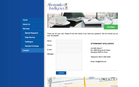 Screenshot of Contact Page afmkt.com - Contact - Aftermarket Intelligence - captured Oct. 4, 2014