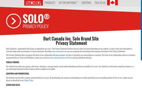 Screenshot of Privacy Page solocup.com - Solo®   Privacy Policy - captured Sept. 30, 2016
