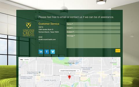 Screenshot of Contact Page lincolncrestllc.com - Lincoln Crest Enterprises   contact - captured Sept. 28, 2018