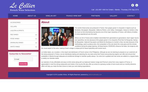 Screenshot of About Page lecellier-wines.com - Le Cellier Wines - About Us - captured Sept. 27, 2018