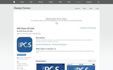Screenshot of iOS App Page apple.com - PHP Point Of Sale on the App Store on iTunes - captured Oct. 31, 2014