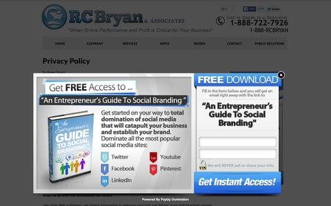 Screenshot of Privacy Page rcbryan.com - Privacy Policy | Business Consulting Services for Entrepreneurs - captured Feb. 14, 2016