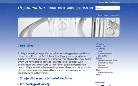 Screenshot of Case Studies Page organomation.com - Case Studies | Organomation - captured Dec. 10, 2018