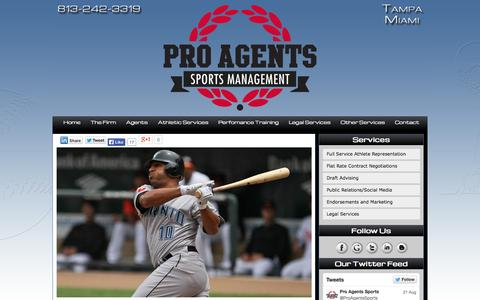 Screenshot of Home Page proagentsports.com - Sports Agents in Tampa Florida | Sport Agents in Orlando & Miami | Pro Agents Sports - captured Oct. 3, 2014