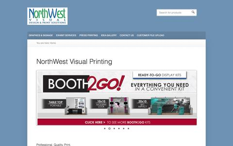 Screenshot of Home Page northwestvisual.com - Design and Print Solutions for exhibits, tradeshows and all printed graphics - captured Oct. 9, 2014