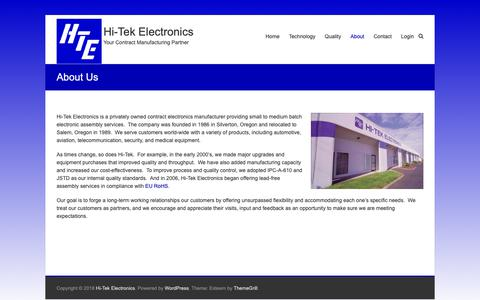 Screenshot of About Page hitekquality.com - About Us – Hi-Tek Electronics - captured Sept. 28, 2018