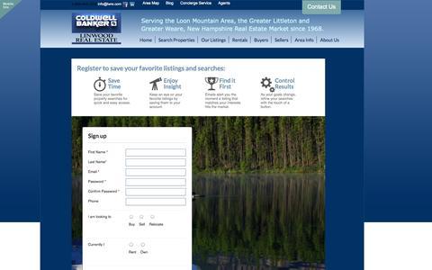 Screenshot of Signup Page lwre.com - Franconia, Littleton, Weare and Lincoln Realtors | Coldwell Banker Linwood Real Estate - captured Oct. 2, 2014