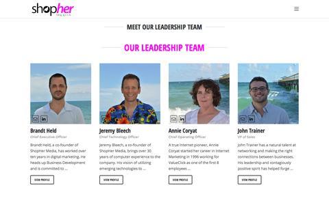 Screenshot of Team Page shophermedia.com - ShopHer MediaOur Team - ShopHer Media - captured Sept. 22, 2018