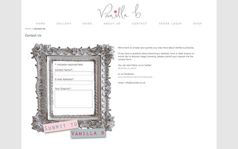 Screenshot of Contact Page vanillab.co.uk - Contact Us to become a Stockist or for General Enquiries - Vanilla b - captured Oct. 27, 2014