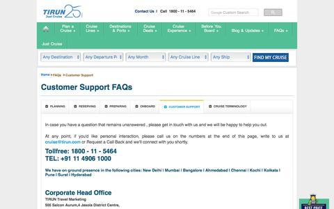 Screenshot of Support Page tirun.com - Customer Support - Tirun Travel Marketing - captured Sept. 23, 2018