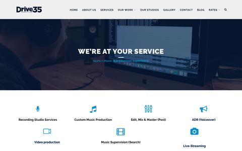 Screenshot of Services Page drive35.com - Our Services – Drive35 Productions - captured Dec. 4, 2018