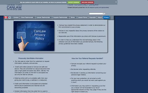 Screenshot of Privacy Page canlaw.com - Contact us Privacy CanLaw contacts - captured Oct. 1, 2015